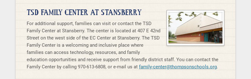 TSD FAMILY CENTER AT STANSBERRY