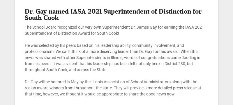 Dr. Gay named IASA 2021 Superintendent of Distinction for South Cook