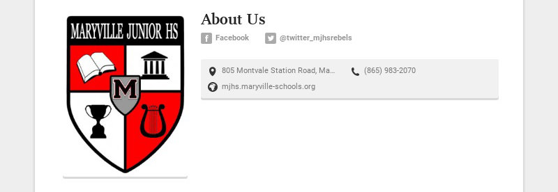 About Us Facebook @twitter_mjhsrebels 805 Montvale Station Road, Maryville, TN, USA (865)...