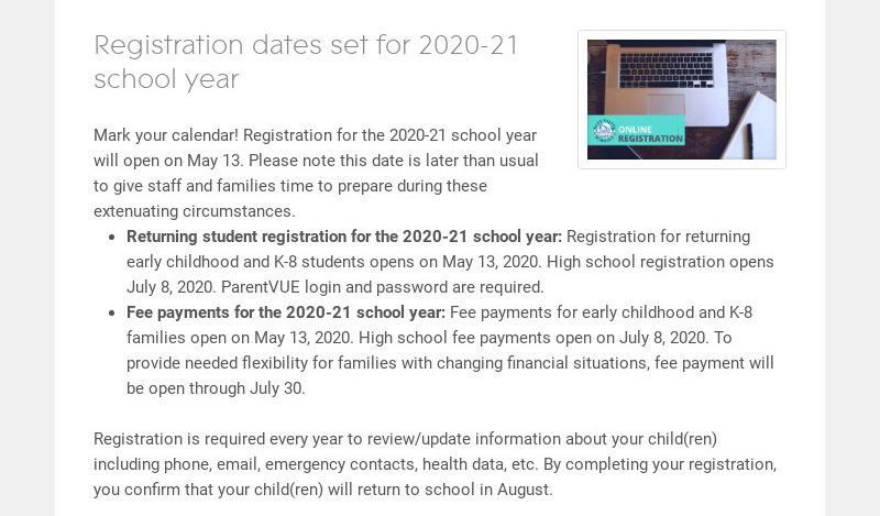 Registration dates set for 2020-21 school year Mark your calendar! Registration for the 2020-21...