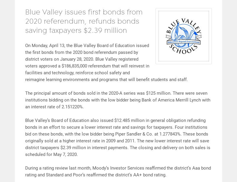 Blue Valley issues first bonds from 2020 referendum, refunds bonds saving taxpayers $2.39 million...