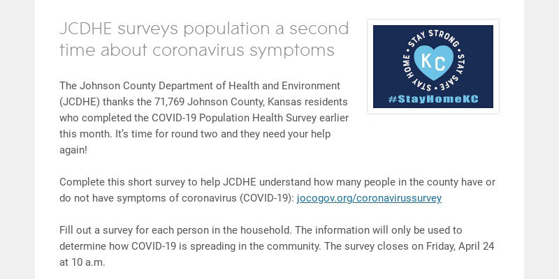 JCDHE surveys population a second time about coronavirus symptoms The Johnson County Department...