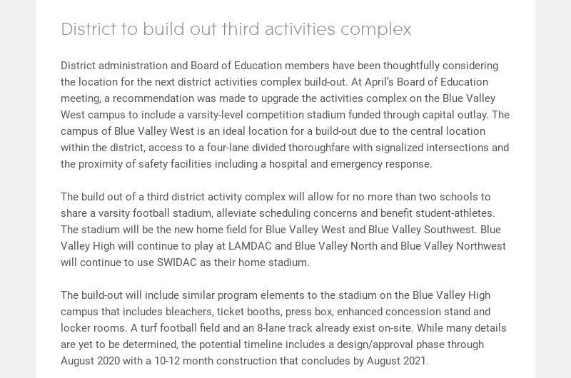 District to build out third activities complex District administration and Board of Education...