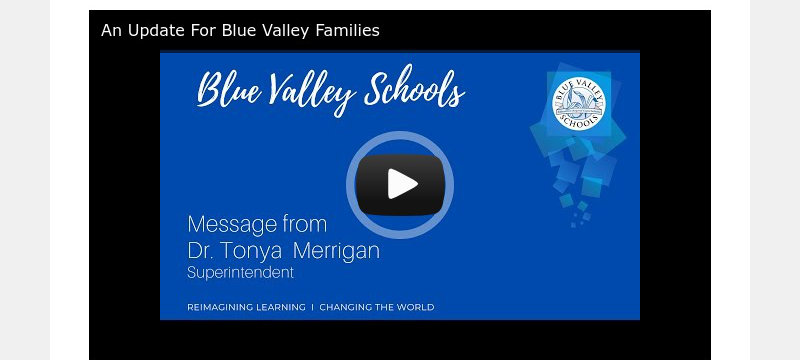 An Update For Blue Valley Families