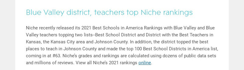 Blue Valley district, teachers top Niche rankings