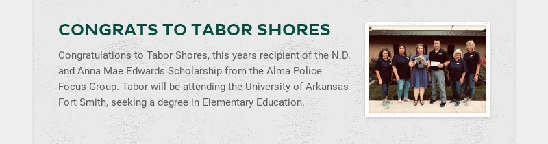 CONGRATS TO TABOR SHORES