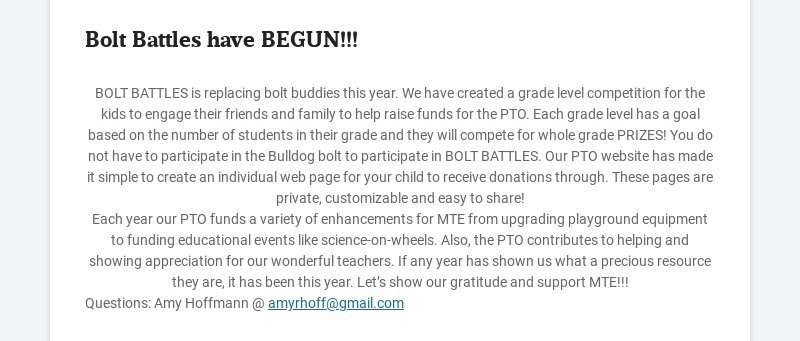 Bolt Battles have BEGUN!!! BOLT BATTLES is replacing bolt buddies this year. We have created a...