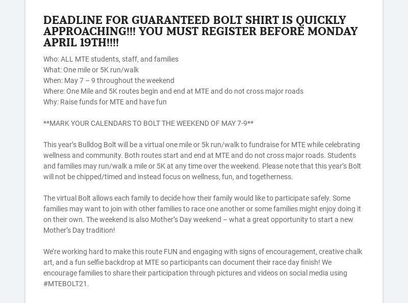 DEADLINE FOR GUARANTEED BOLT SHIRT IS QUICKLY APPROACHING!!! YOU MUST REGISTER BEFORE MONDAY...