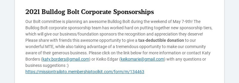 2021 Bulldog Bolt Corporate Sponsorships Our Bolt committee is planning an awesome Bulldog Bolt...