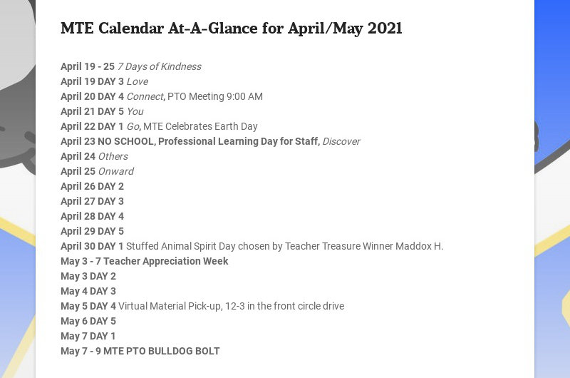 MTE Calendar At-A-Glance for April/May 2021 April 19 - 25 7 Days of Kindness April 19 DAY 3...