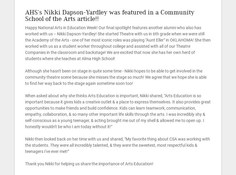 AHS's Nikki Dapson-Yardley was featured in a Community School of the Arts article!! Happy...