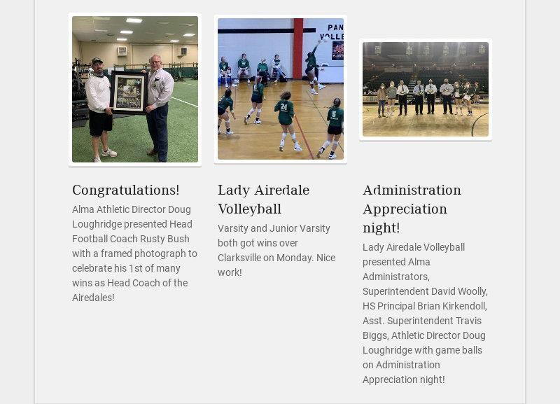 Congratulations! Alma Athletic Director Doug Loughridge presented Head Football Coach Rusty Bush...