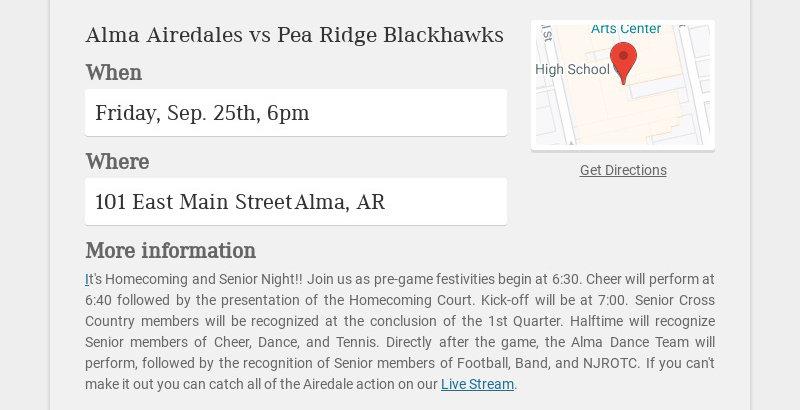 Alma Airedales vs Pea Ridge Blackhawks When Friday, Sep. 25th, 6pm Where 101 East Main Street...
