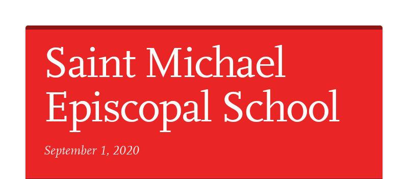 Saint Michael Episcopal School September 1, 2020