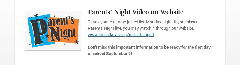 Parents' Night Video on Website Thank you to all who joined live Monday night. If you missed...