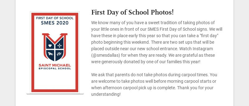First Day of School Photos! We know many of you have a sweet tradition of taking photos of your...