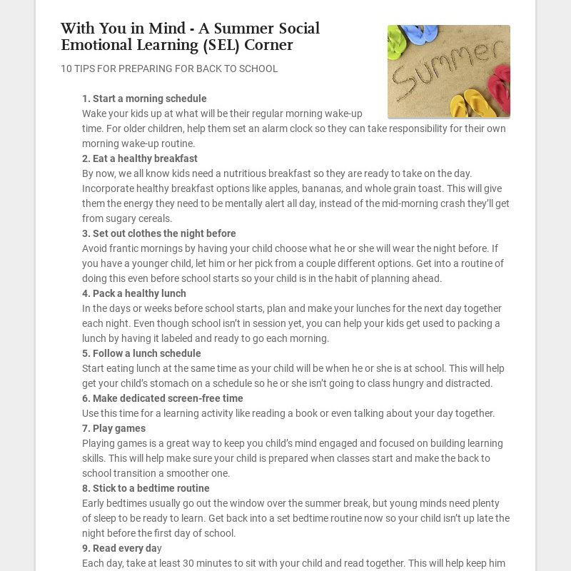 With You in Mind - A Summer Social Emotional Learning (SEL) Corner