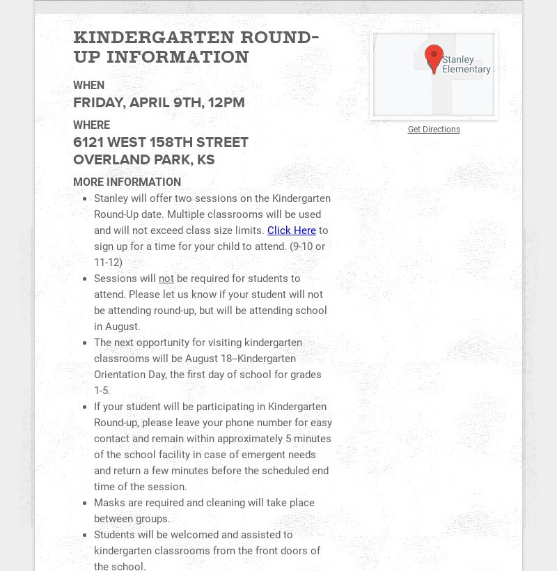 KINDERGARTEN ROUND-UP INFORMATION WHEN FRIDAY, APRIL 9TH, 12PM WHERE 6121 WEST 158TH STREET...