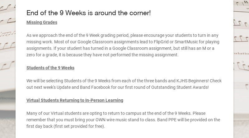 End of the 9 Weeks is around the corner! Missing Grades As we approach the end of the 9 Week...
