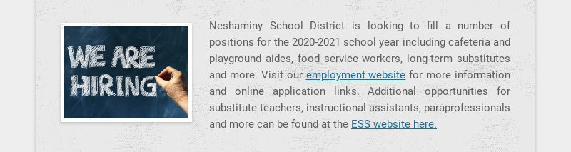 Neshaminy School District is looking to fill a number of positions for the 2020-2021 school year...