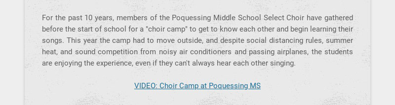 For the past 10 years, members of the Poquessing Middle School Select Choir have gathered before...