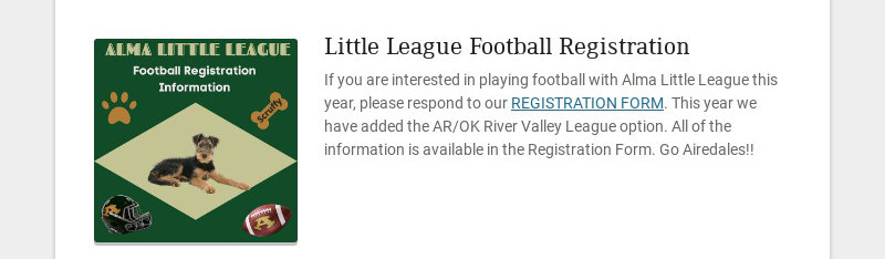 Little League Football Registration If you are interested in playing football with Alma Little...
