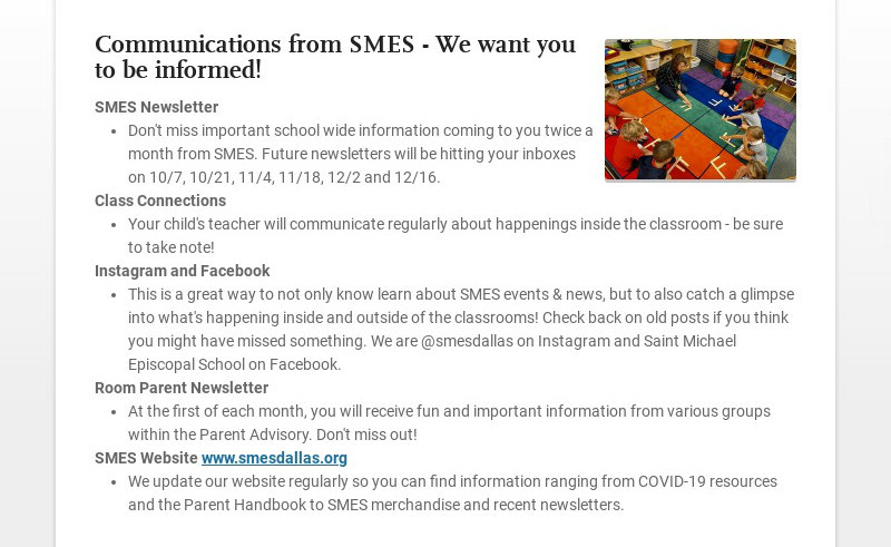 Communications from SMES - We want you to be informed! SMES Newsletter Don't miss important...