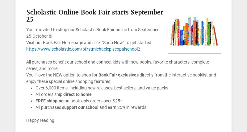 Scholastic Online Book Fair starts September 25 You're invited to shop our Scholastic Book Fair...