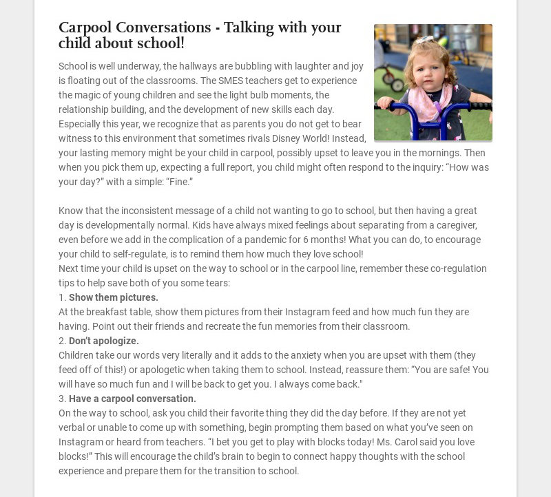 Carpool Conversations - Talking with your child about school! School is well underway, the...