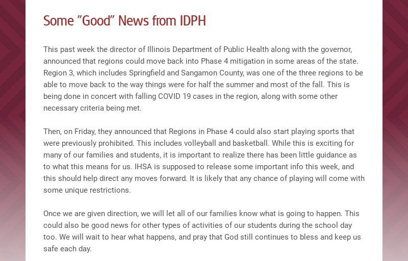 """Some """"Good"""" News from IDPH This past week the director of Illinois Department of Public Health..."""