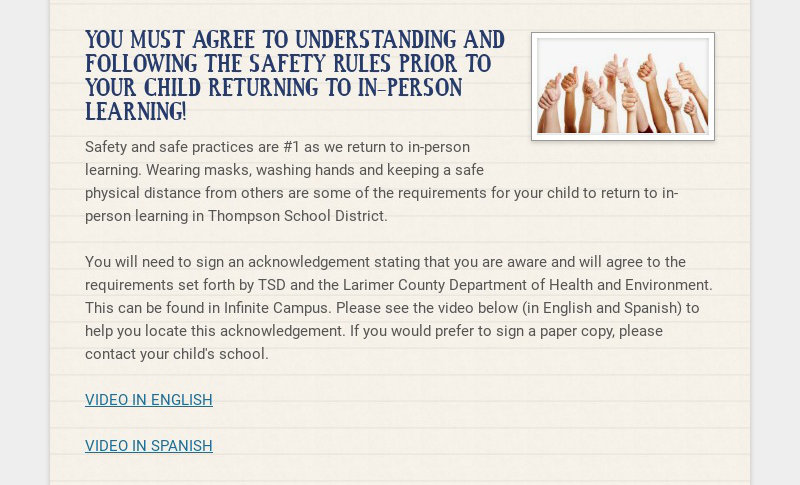 YOU MUST AGREE TO UNDERSTANDING AND FOLLOWING THE SAFETY RULES PRIOR TO YOUR CHILD RETURNING TO...