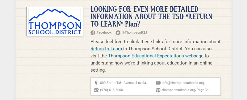 """LOOKING FOR EVEN MORE DETAILED INFORMATION ABOUT THE TSD """"RETURN TO LEARN"""" Plan? Facebook..."""