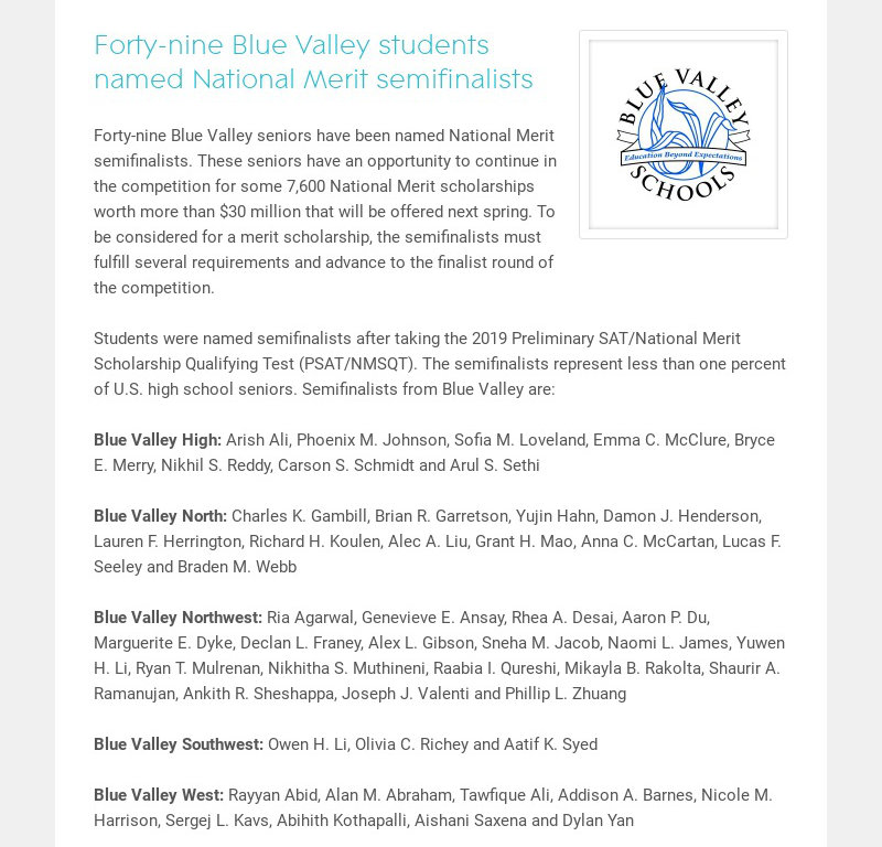 Forty-nine Blue Valley students named National Merit semifinalists