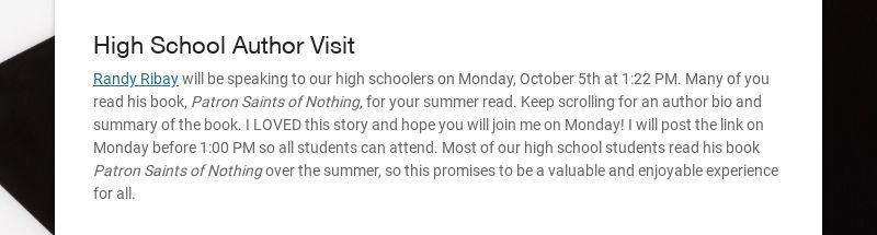 High School Author Visit Randy Ribay will be speaking to our high schoolers on Monday, October...