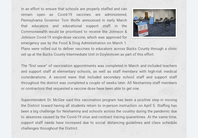 In an effort to ensure that schools are properly staffed and can remain open as Covid-19 vaccines...