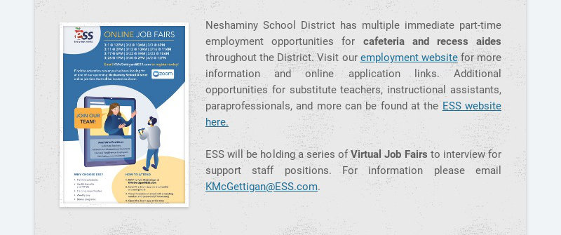 Neshaminy School District has multiple immediate part-time employment opportunities for cafeteria...
