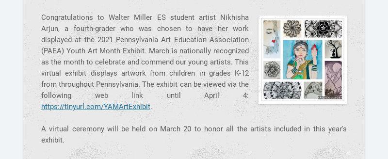 Congratulations to Walter Miller ES student artist Nikhisha Arjun, a fourth-grader who was chosen...
