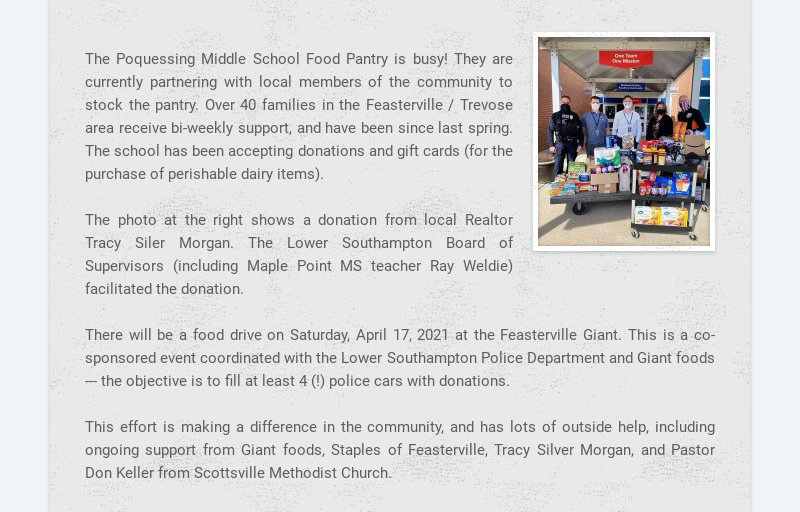 The Poquessing Middle School Food Pantry is busy! They are currently partnering with local...