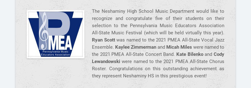 The Neshaminy High School Music Department would like to recognize and congratulate five of their...
