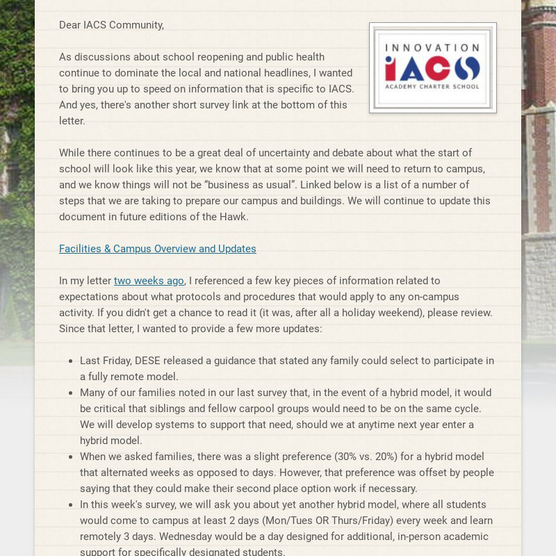 Dear IACS Community, As discussions about school reopening and public health continue to...