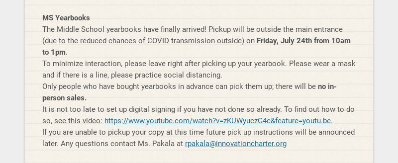 MS Yearbooks The Middle School yearbooks have finally arrived! Pickup will be outside the main...