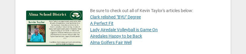 Be sure to check out all of Kevin Taylor's articles below: