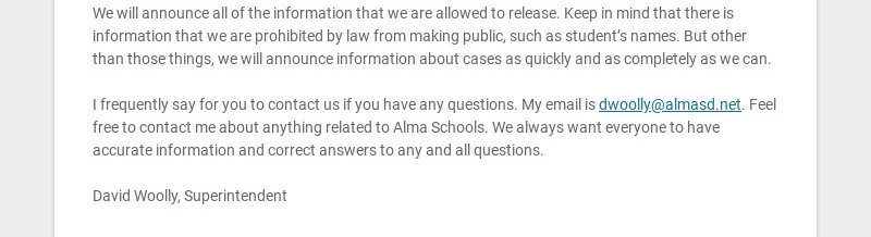 To Alma parents and members of the community,