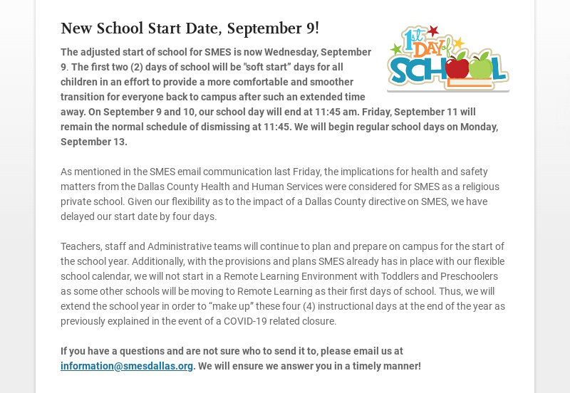 New School Start Date, September 9! The adjusted start of school for SMES is now Wednesday,...