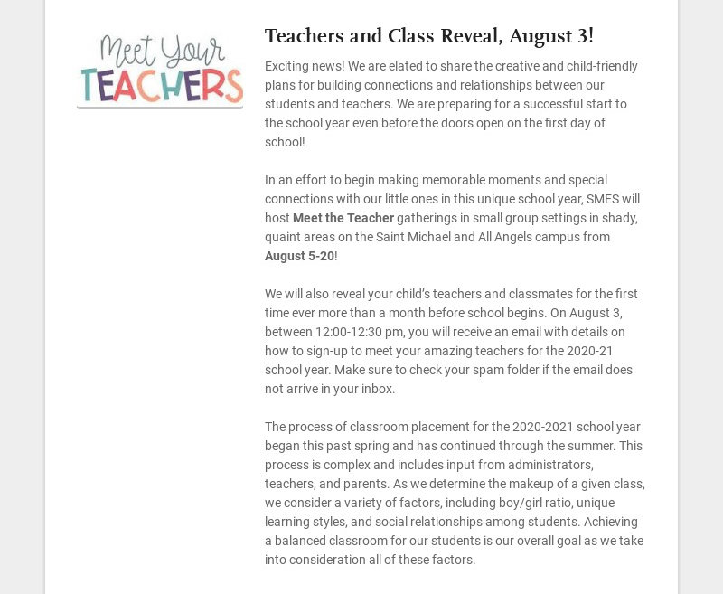 Teachers and Class Reveal, August 3! Exciting news! We are elated to share the creative and...