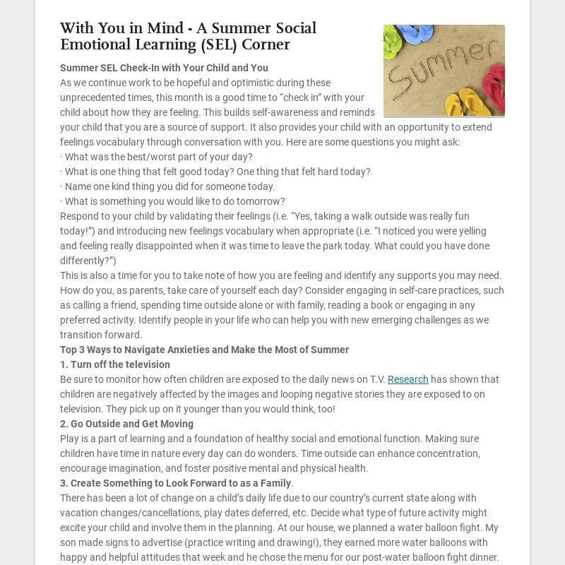 With You in Mind - A Summer Social Emotional Learning (SEL) Corner Summer SEL Check-In with Your...