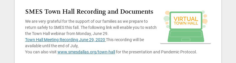 SMES Town Hall Recording and Documents We are very grateful for the support of our families as we...