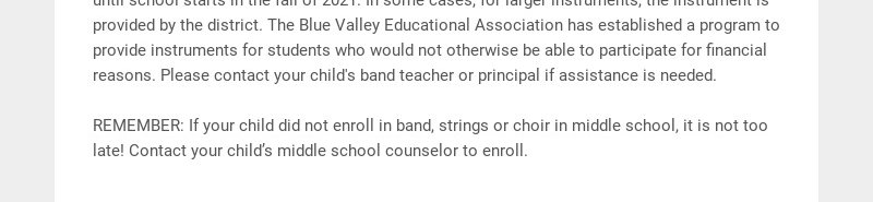 ATTENTION 5th GRADE PARENTS🎶 Band Instrument selection for incoming middle school students It is...