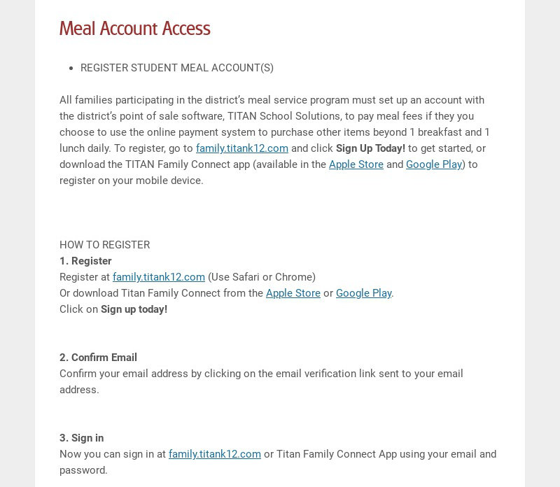 Meal Account Access REGISTER STUDENT MEAL ACCOUNT(S) All families participating in the...