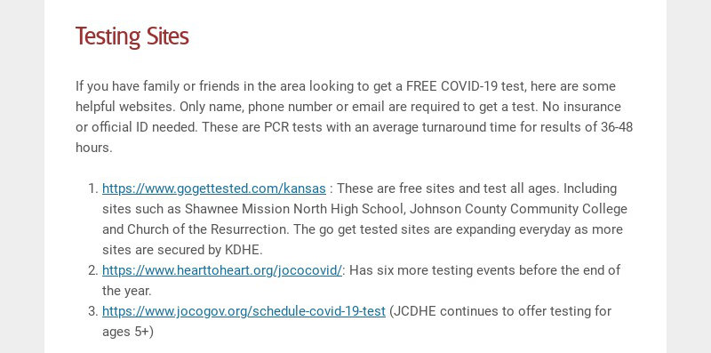Testing Sites If you have family or friends in the area looking to get a FREE COVID-19 test, here...